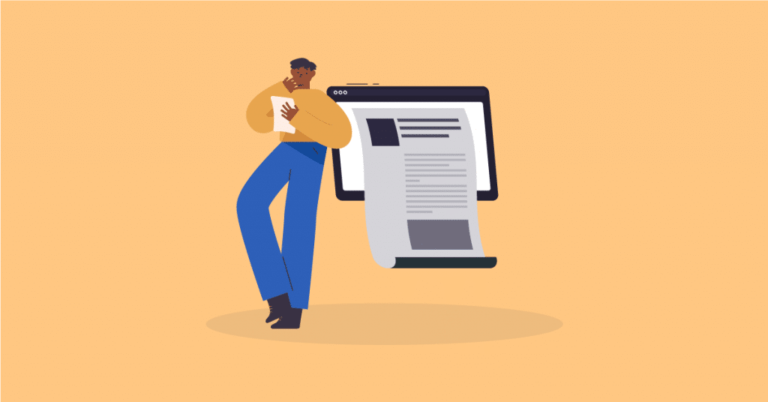 Infographic of a man reading an article on the screen