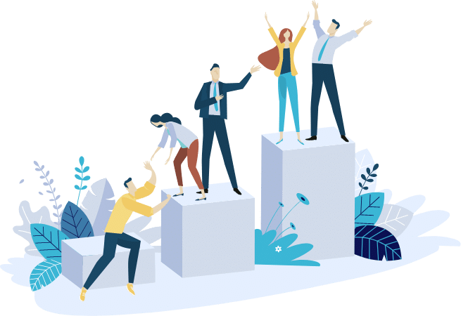Infographic of people helping each other climb to the top.