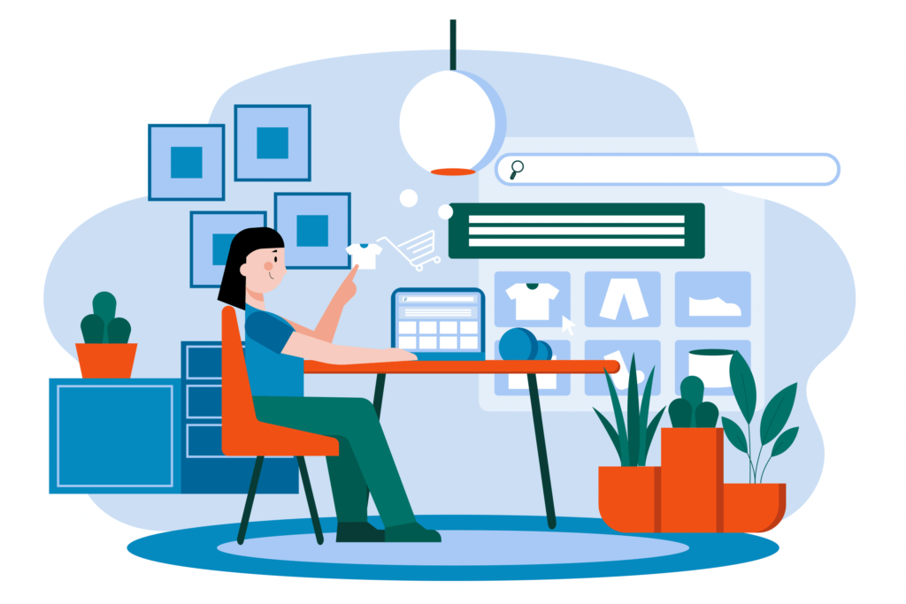 Infographic of a woman sitting at the dinner table shopping on the website.