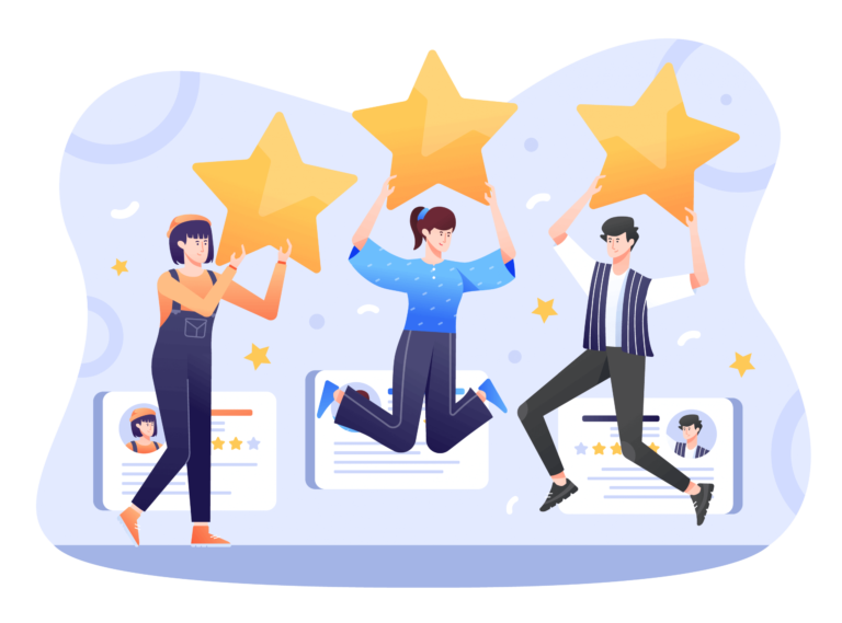 Infographic of three people holding stars - representation of superior customer service.