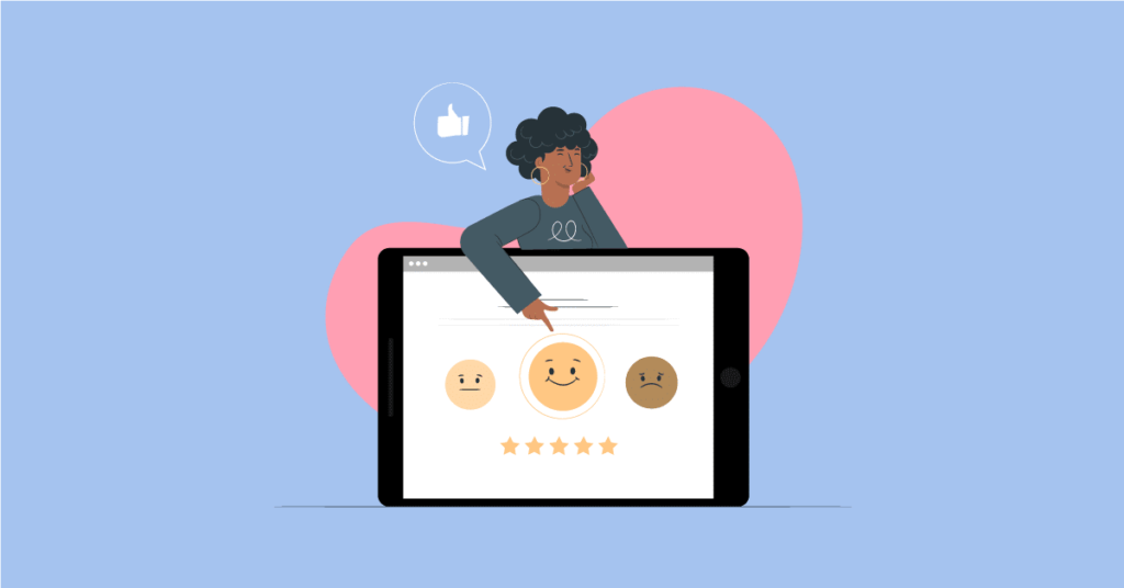 Graphic of woman pointing to a smiley face, indicating a great customer experience.