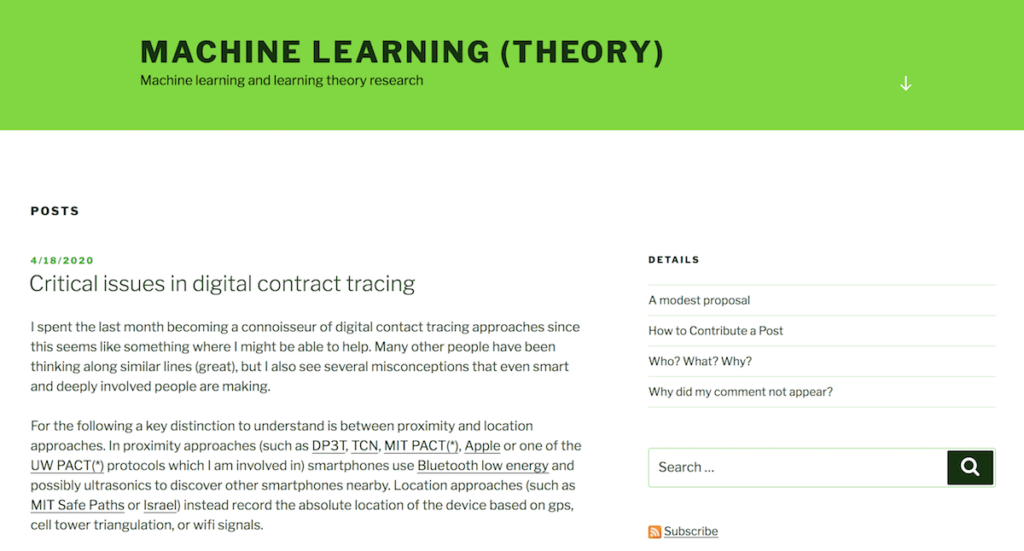 A blog for academic research inMachineLearningand learning theory.