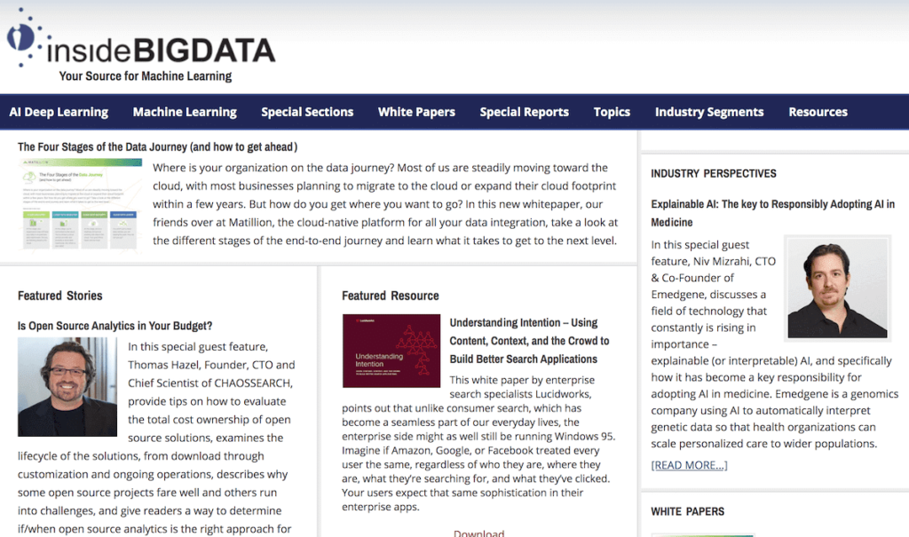 News, reports within the fields of Big Data, AI, ML, and Deep Learning