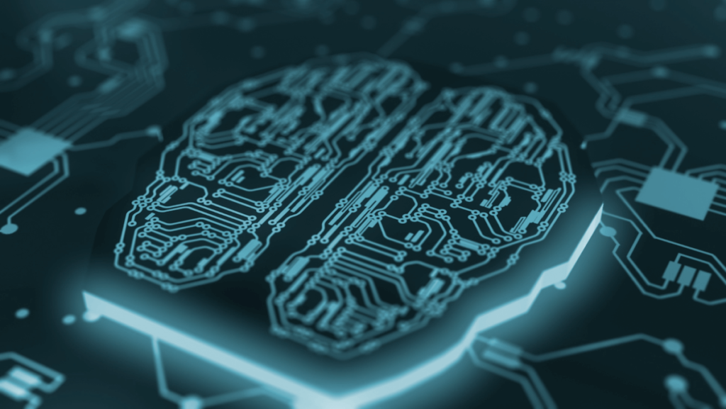 Image of a circuit board in the shape of a human brain, representing the complexities of the Danish Bert model.