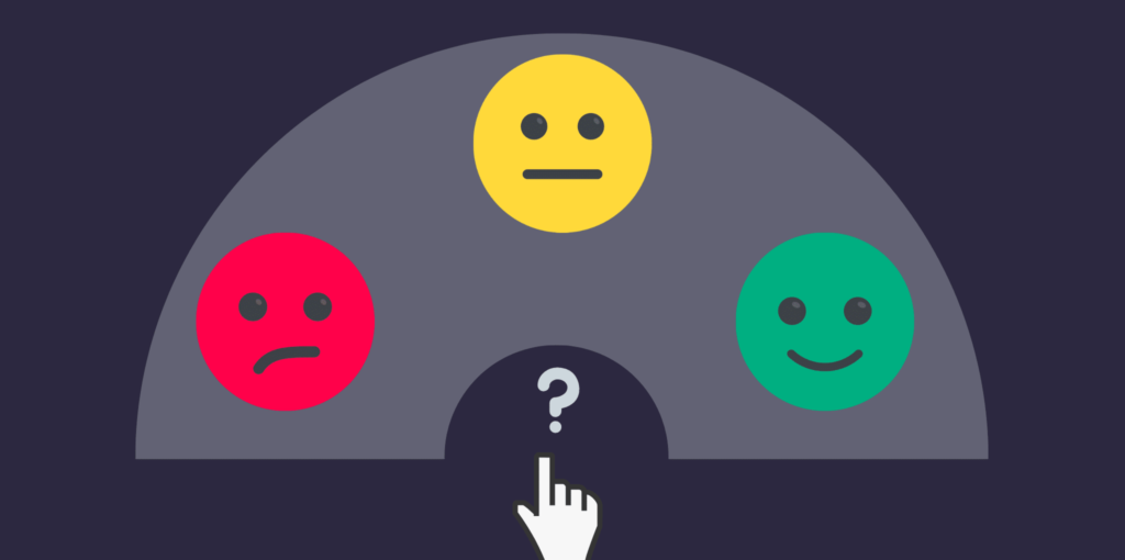 Infographic of three emojis representing customer review options.