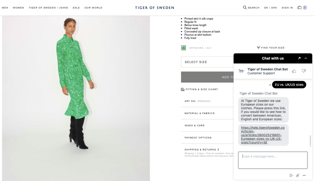 Screenshot of Tiger of Sweden's webpage with a new version of a chatbot as a shopping assistant