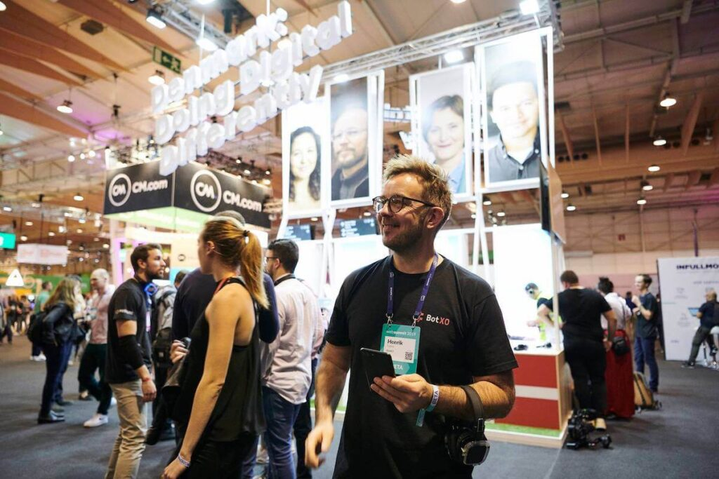 Henrik Fabrin, CEO of Certainly, promoting Danish AI solutions at Web Summit in Lisbon.