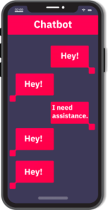 Image of phone depicting a repetitive chatbot conversation.