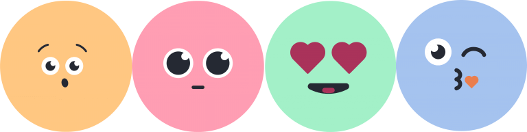 Graphics of emoji faces in different colors.