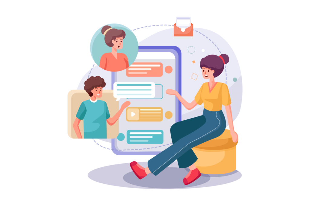 Graphic depicting three people talking via a conversational user interface