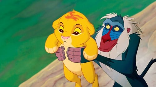 Rafiki holding Simba high. - The scene from the Lion King cartoon. Metaphorical representation of customers always coming first.