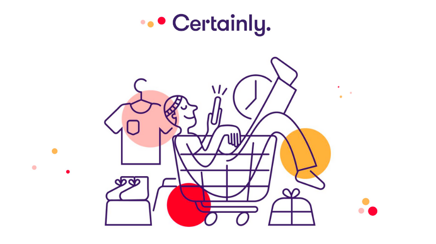 Infographic of a happy customer sitting in a shopping cart.