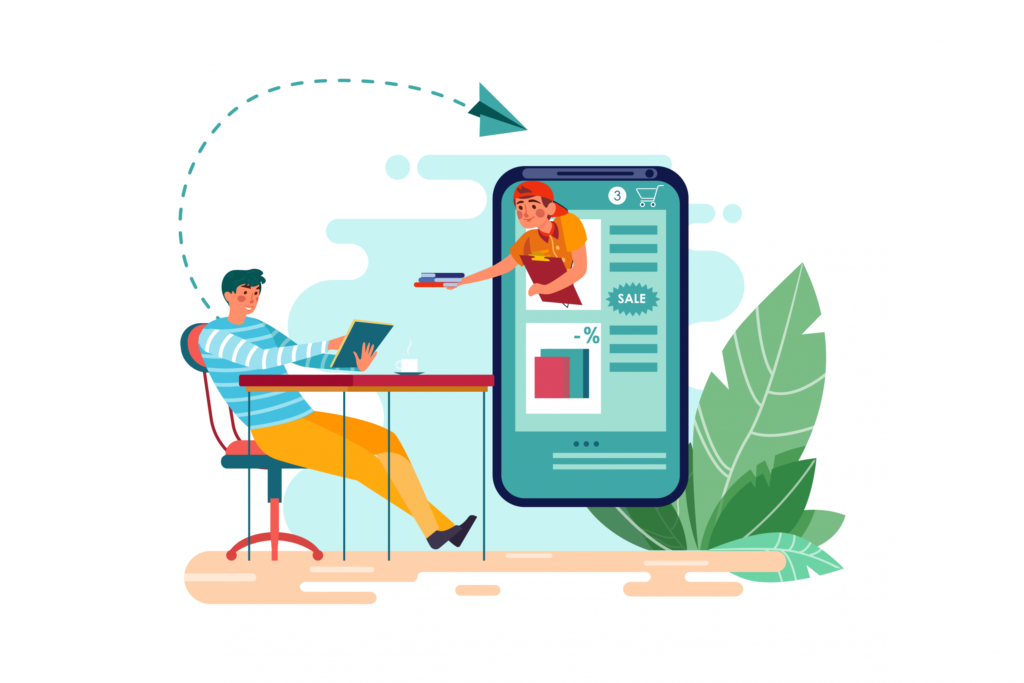 Infographic of a man sitting on the desk and chatting with a chatbot assistant.