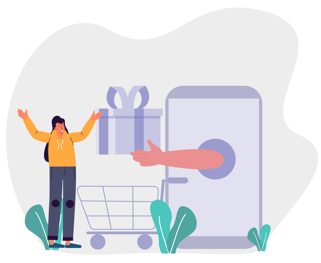Infographic of a person receiving a gift from a web store.
