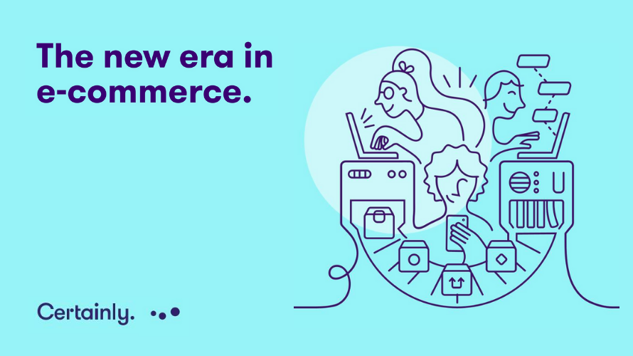 Graphic showing customers online, with text reading the new era in commerce, and presenting certainly as one of the chatbot companies doing this.