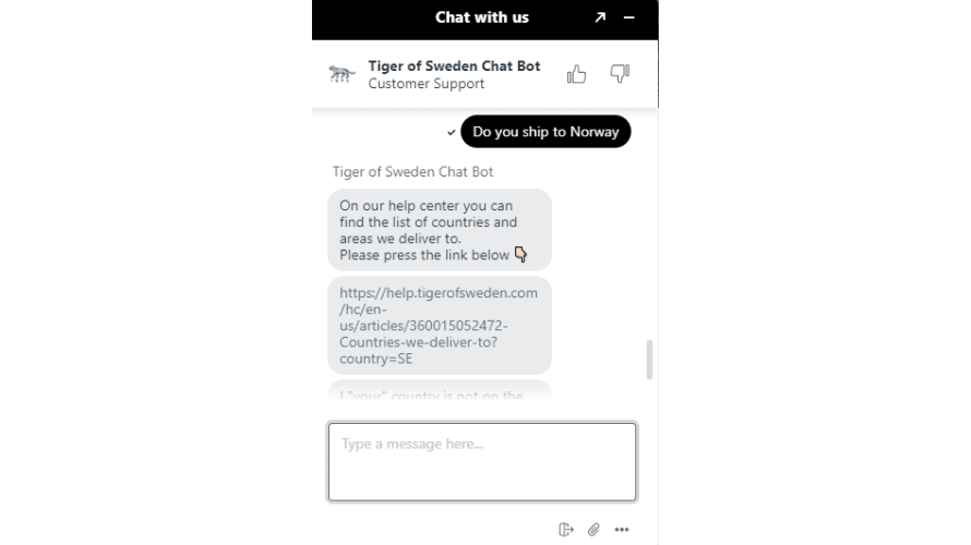 Conversation between Tiger of Sweden's customer service chatbot and a customer.