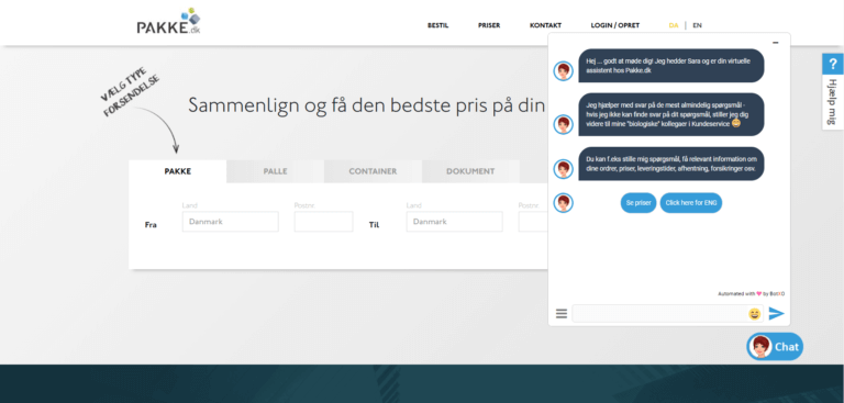 A screenshot of Pakke.dk website page, with the open chat tab. Chatbot answering to customer inquiries.