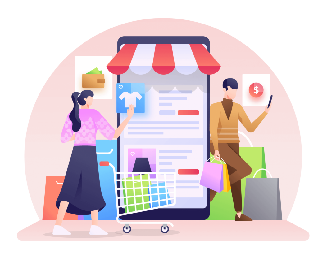 Infographic representing customers ecommerce experience and virtual shopping store.