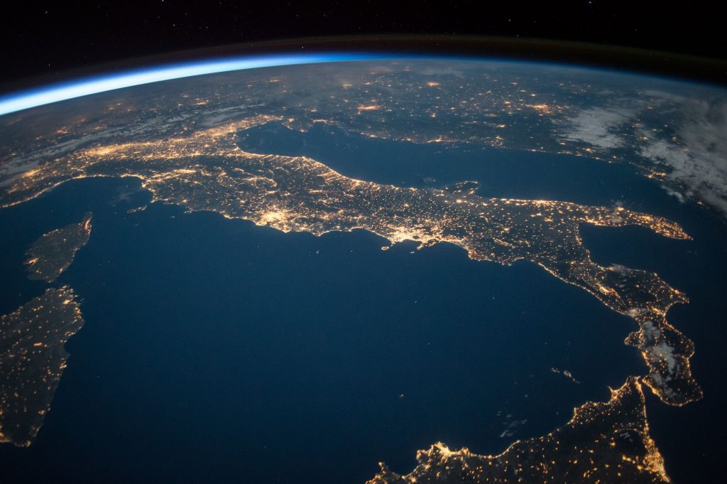 image of italy when viewed from space