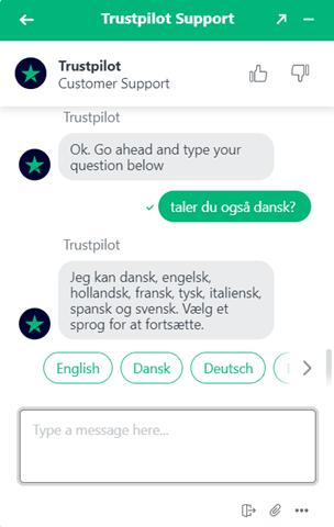 trustpilot multilingual chatbot support